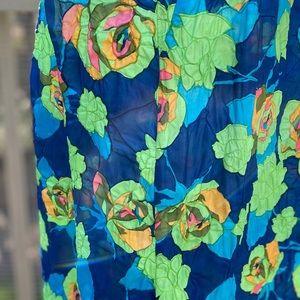 Vintage 60s Highwaisted Psychedelic Floral Skirt